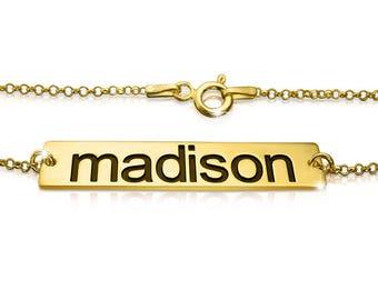 Gold name bracelet baby name bracelet custom name bracelet childrens name bracelet name bar bracelet