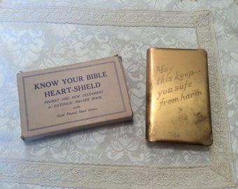 WWII HEART SHIELD Military Bible Steel Army World War Soldier's Brass Prayer Book Vintage w/ Box