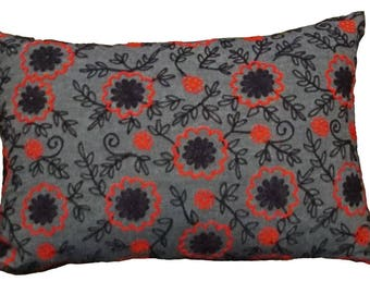Pillow, Throw Pillow, Pillow Cover, Flower Pillow, Decorative Pillow, Denim Pillow Cover, Embroidered Blue and Red Flowers Pillow Cover