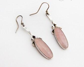 Elegant Elongated Rose Quartz Dangle Earrings Sterling Silver