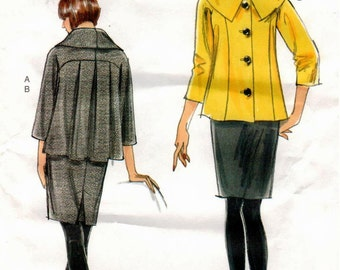 UNCUT Very Easy Vogue Pattern V8623 - Misses Loose-Fitting Jacket with Princess Seams and Bias Collar, and Semi-Fitted, Tapered Skirt - 8-14