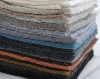 """100% Wool Felt Fabric - 22 assorted square felt sheets - Neutral colours - Approx 3mm - 5mm Thick - approx 15cm x 15cm (6"""" x 6"""") per sheet"""