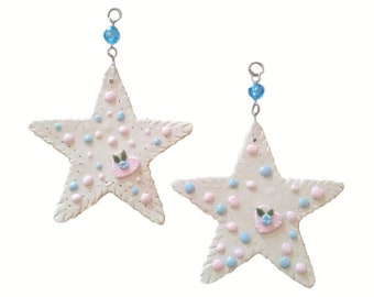"""Stars..Bling Charm Ornaments.. 31/4""""....Set of two."""