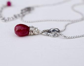 Ruby Pendant Necklace, Christmas Necklace, July Birthstone, Red Gemstone, Genuine Ruby. Minimalist Rustic Wire Wrap, Ruby Jewelry,