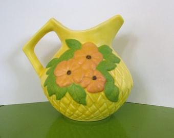 RARE Vintage Enchanto California Pottery Co - 1950s - Bright Yellow Matte Glaze Pitcher - floral design, green, water pitcher, ceramic