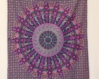 Purple Tapestry Elephant Tapestry Wall Hanging printed Tapestry Indian Mandala Tapestries Bohemian Tapestry Beach Blanket Elephant Tapestry
