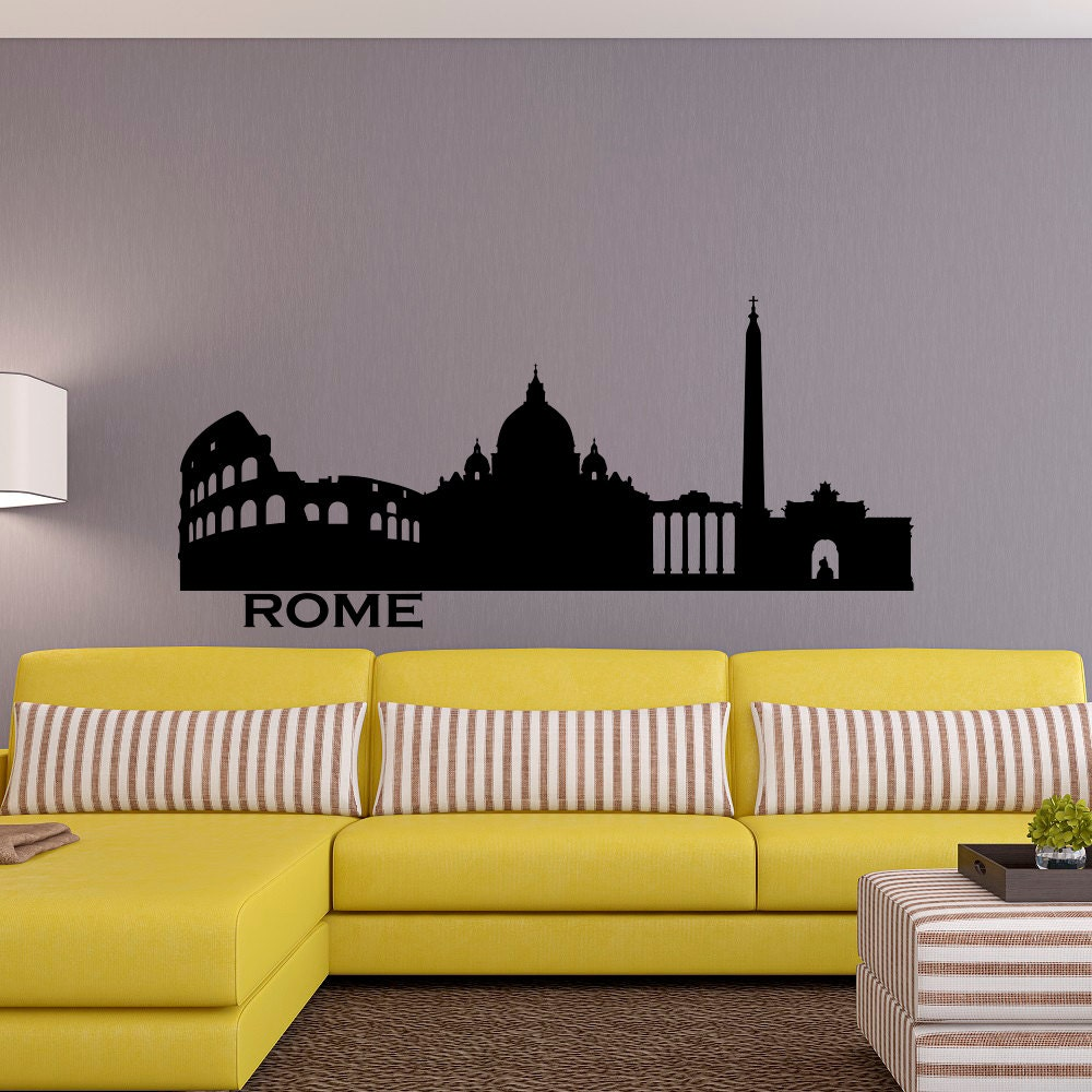 Rome Skyline Wall Decal City Silhouette Italy Rome Wall Decals