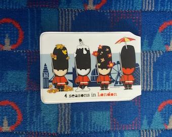"Travel card holder ""4 seasons in London"" - London skyline souvenir - Oyster  card- Bus pass- Traveler gift - Credit card wallet"