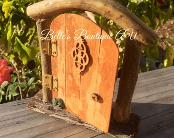 Miniature opening wooden fairy door, faerie door, elf door, gnome door, freestanding fairy door, handmade fairy door