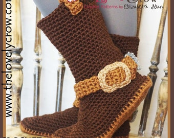 Crochet Pattern Cowboy Boots (Women Sizes)