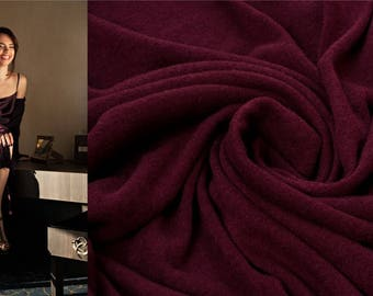 BURGUNDY WINE Italian Wool Fabric by the Yard Knitted Angora Tricot Viscose Jersey Sweater Knit Mediumweight Soft Natural Luxury Textile DIY