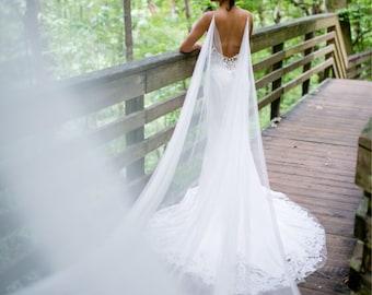 Wedding Cape, Bridal Cape, Cape Veil, Bridal Cape Veil, Cape, Back Necklace, Wedding Cape Veil, Modern Veil, Drape Veil Cape, Blush