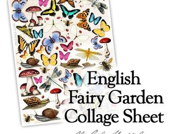 English Fairy Garden - PDF collage sheet download