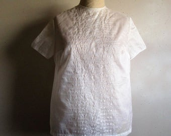 Vintage 70s Organza Summer Blouse White Embroidered Short Sleeve 1970s Nylon Shift Blouse Small