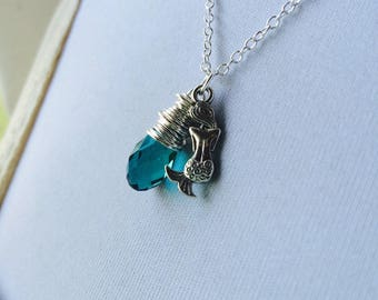 Delicate Mermaid Necklace, Teal Green Crystal Necklace, Wire Wrap Crystal and Silver Mermaid Charm, Siren Song