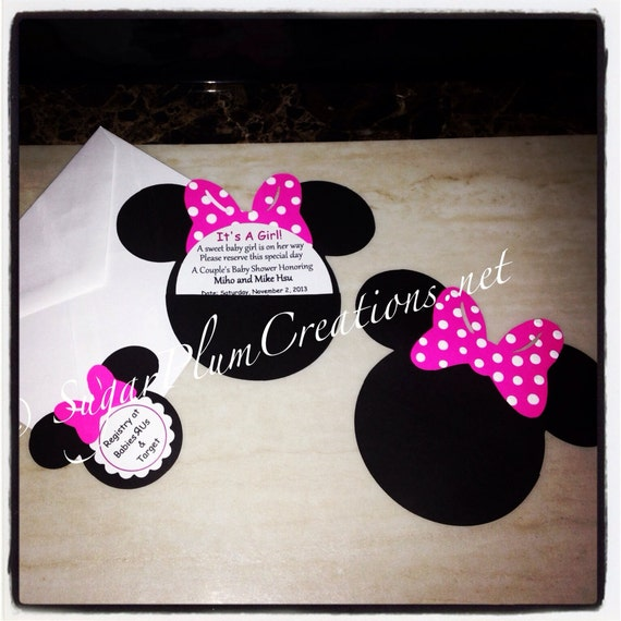 40 Minnie Mouse Custom Baby Shower Invitations/minnie Mouse
