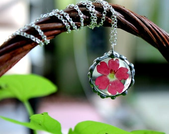 Fuscia Verbena Flower Pendant on Sterling Silver Chain