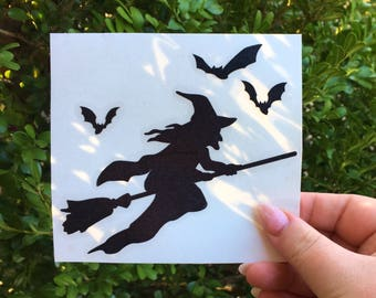 Flying witch decal, Halloween witch decal, interior and exterior halloween wall decal, halloween decor, monogram car decals, witch halloween