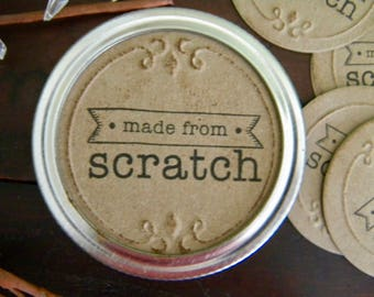 Mason Jar Labels, Made from Scratch Labels, Jar Stickers, Mason Jar Lid Inserts, Gifts in a Jar Tags, Canning Jar Labels