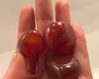 3 Tumbled Carnelian Stones