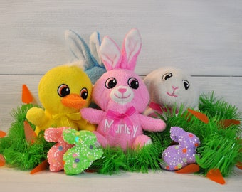 Personalized Easter Bunnies, Easter Basket Stuffers, Personalized with Child's Name, Custom Easter Basket Stuffed Animals, Easter Gift