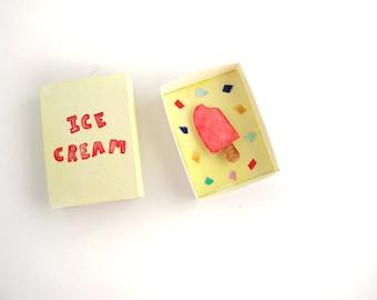 Ice cream, matchbox art, miniature paper diorama, ice cream decor, red popsicle, summer decor
