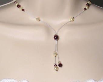 Crystal wedding bridal bride wedding bridal ivory Burgundy - Classic Collection - necklace Cristelina - wedding - wedding jewelry necklace