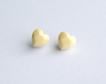 Cream Heart Earrings, Faceted Heart Studs, Stainless Steel, Hypoallergenic Studs, Kawaii Heart Studs, Heart Jewellery, Stocking Filler