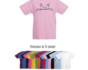Little miss purrrfect, cat shirt, kids shirt, little miss perfect, cat lover, kids cat shirt, whiskers shirt, cat ears shirt, gift for girls