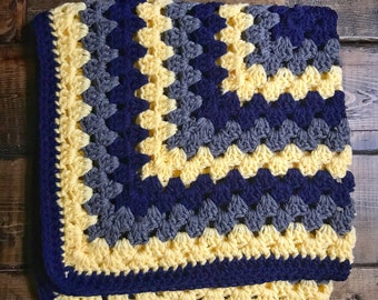 Soft & Squishy Granny Square Baby Cradle Crochet Blanket -Navy, Yellow, Light Gray - Ready to ship!
