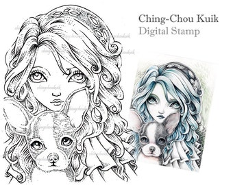 Boston Terrier - Digital Stamp Instant Download / Fantasy Art by Ching-Chou Kuik