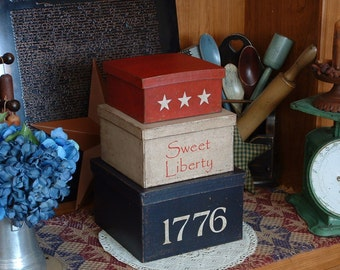 Primitive, 1776, Americana, USA, Patriotic, Star, Shaker, Boxes, Holiday, Country, Red, White, Blue, Flag, Nesting, Stacking, Storage