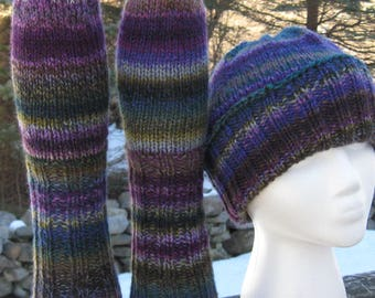 set of 2: hand knit, hand spun hat and socks