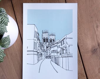 York Print | Low Petergate Blue | Yorkshire
