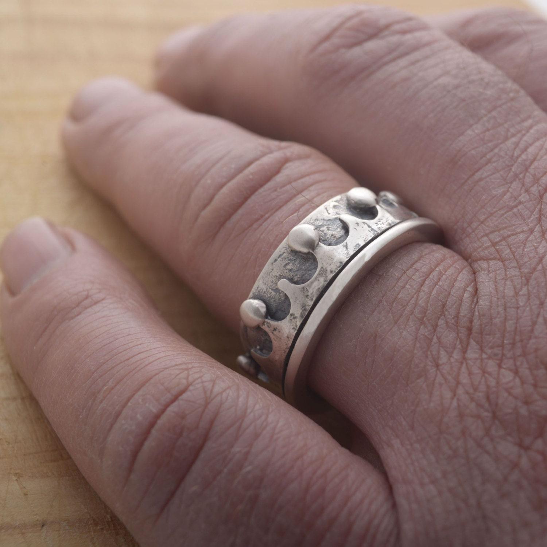 King Ring for Men Sterling Silver Royal Ring for Men 10mm