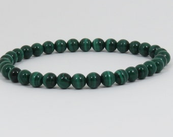 Genuine Malachite Bracelet, 6 mm, Natural Malachite, Natural Green Stone Bracelet, Dark Green Bracelet, Harmony, Protecting Stone
