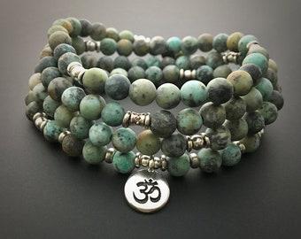 African Turquoise Mala, Yoga Wrap Bracelet, Meditation Necklace, 108 Prayer Beads, Crystal Healing, Reiki Charged