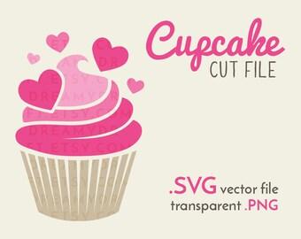 Pink cupcake SVG cut file   love svg - hearts svg - dessert clip art - cupcake clip art   SVG PNG   Cricut or silhouette cutting machine