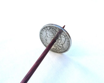 Large Silver Morgan Dollar Coin Tahkli Support Spindle for Supported Handspun Lace Yarn Thread - like Russian or Tibetan or Takhli