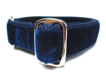 "Houndstown 1"" Navy Velvet Tag Collar, Adjustable"