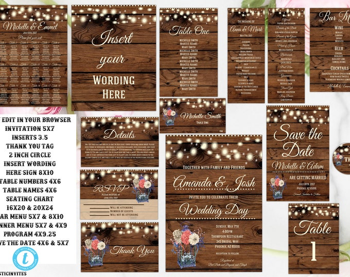Rustic Lantern Wedding Invitation Printable, Country Wedding Invitation, Digital file, Printable, wedding invitation suite, Instant Download