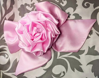 Large Handmade Bow with a Large Handmade Rose with Bling and Ribbon and Ribbon tie back Any Color