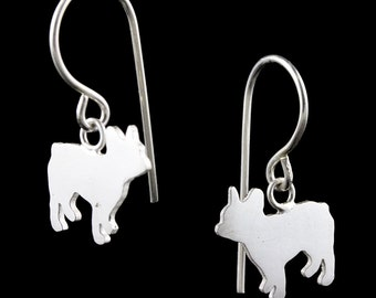 French Bulldog Frenchie Sterling Silver Dog Silhouette Dangle Earrings