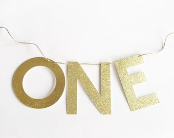 Glitter 'ONE' Banner for Birthday and Anniversary.