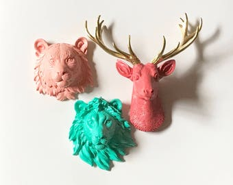 Set of 3: 1 Small Deer Head + 2 Other Small Animal Heads Choose from sm bear wolf tiger lion zebra or elephant Choose your Colors for all 3