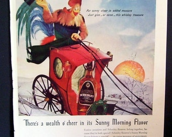 Schenley Reserve Whiskey Magazine Print Page Ad 1941, Bar Decor, Man Cave Decor, Wall Hanging, Rooster Riding Coach, Winter Scene. Whiskey
