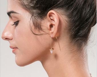 Gold open hoop wired taper earrings