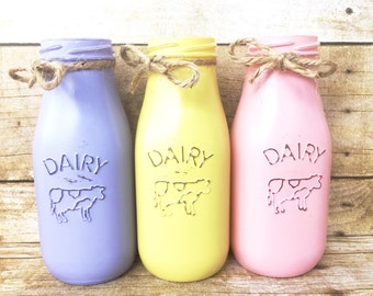 Set Of 3 Hand Painted And Distressed Easter Dairy Bottles, Spring Mason Jar, Centerpieces, Spring Decor, Farm House, Rustic!