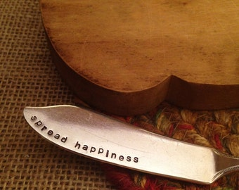 Hand Stamped Butter Knife, Butter Spreader, Cheese Spreader, Handstamped Knife, Butter Knife, Unique Gift, Cheese Knife, Stamped Silverware