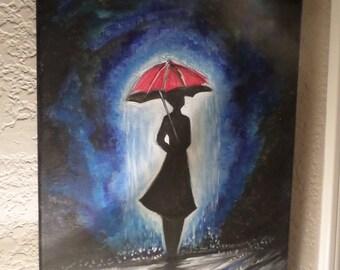 watercolor rainy days joy painting. Umbrella and Rainy Day on canvas 12x8 inches.
